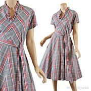 SALE Vintage 1950's Gray Plaid Day Dress - S / M