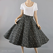 SALE Quilted 1950s Black & White Polka Dot Circle Skirt - S