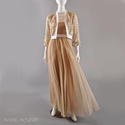 SALE Jack Bryan 1970s Long Chiffon Gown / Embr'd Beaded Jacket S