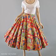 SALE 1950s Vibrant Leaves Circle Skirt - S / M