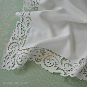 "SOLD Vintage Fine Linen Ornate Cutwork Teacloth Layover Sham 32 x 35"""