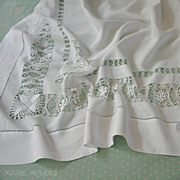 """SALE Ornate DrawnWork, Embroidered Linen Tablecloth Teacloth 51 x 51"""""""