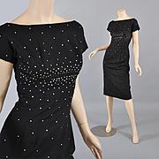 Dazzling 1950s Sleek Black Sheath - Rhinestones XS