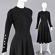 Bedazzled 1950s Ann Fogarty Black Dress - Rhinestone Buttons S/M