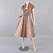 Vintage 1950s Lace Dress - Deep Taupe S / M