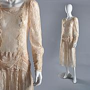 Vintage 1980s Lace Dress, Bridal S/M