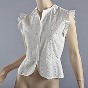 Vintage Fine Peplum Cotton Blouse, Embroidered -  S