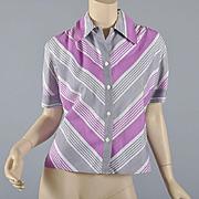 Vintage 1940s -50s Stripe Blouse-Fab Colors S/M