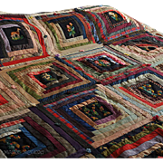 Victorian 19th C Log Cabin / Needlepoint Figural Quilt