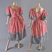 1970s Off Shoulder Dress - Dirndl Style - S / M