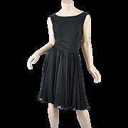 Black Silk Chiffon 50s-60s Cocktail Dress /Fay Hoosin  Lg