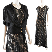 Black Lace Vintage 1930's Long Gown / Jacket  - M