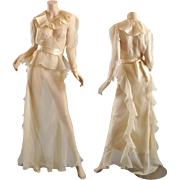 Ethereal 1930s Ivory Silk Organza Gown w / Slip - Grt for Bridal