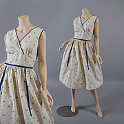 Floral Sprig Vintage 1950s Sleeveless Dress M