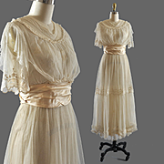 Exquisite Vintage Edwardian Net Tea Bridal Gown - RH Macy