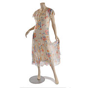 c1920's Sheer  Floral Chiffon Dress - Ethereal - S
