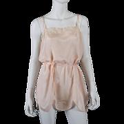 1920s Blush Silk Teddy Chemise w/ Lace, Ribbons
