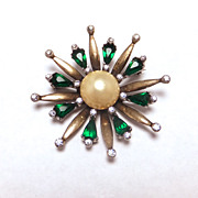 SALE Vintage Sterling Silver 1940s Faux Pearl and Faux Emerald Brooch