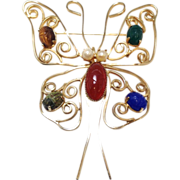 SALE Burt Cassell butterfly and scarab stone, pearl and 12k filled gold brooch or pin