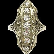 Rare butterfly filigree Antique Art Deco 1920s 18 karat white gold seven diamond dinner ring