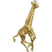 Vintage Tiffany and Co. 1991 18 karat yellow gold diamond and sapphire giraffe pin 13 DWT