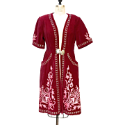 Vintage Cranberry Red Velvet Jacket with Pink Embroidery, Pockets and 3/4 length sleeves