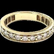 Vintage 14K yellow gold 10 diamond stacking wedding band size 7 1/4
