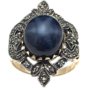 SALE Vintage Lindy star sapphire ring with 10k white and yellow gold and rose cut diamonds