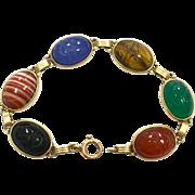 Egyptian Revival Colorful Carved Stone Scarab 14K Bracelet