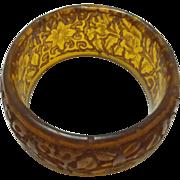 SALE Antique carved Resin Amber colored Asian bangle bracelet