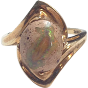 SALE Boulder Opal cabochon set in 14k yellow gold ladies ring.