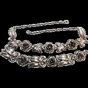 SALE Vintage 1940s Solid Sterling Silver Rose flower Bracelet and matching Necklace
