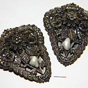 SALE Wonderful Art Deco dress clips pair with marcasite and shells