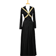 Vintage 1970s Black Nautical Evening Gown with Sailor Style Collar and Long Sleeves