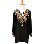 Vintage 1960s Little Black Boho Tunic with Multicolored Embroidery and Tassels