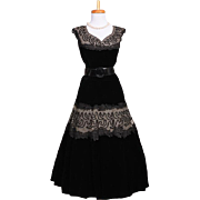 Vintage 1950s Black Soutache Embroidered Net and Black Velvet Cocktail Dress
