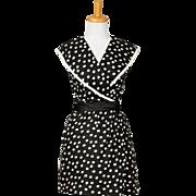 Vintage 1960s Black and White Polka Dot Cotton Piquet Sleeveless Collared Day Dress