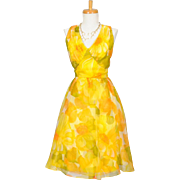 Vintage 1960s Citrus Floral Chiffon Party Dress
