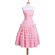 Vintage 1950s Pink and White Gingham Tiered Day Dress with scalloped edges and eyelets through