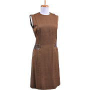 Vintage 1970s Bill Blass Brown Shift Dress with decorative silver tone chain