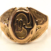 SALE Vintage 10k solid Yellow gold Masonic signet ring size 8.5