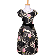 Vintage 1950s Black Silk Pink, White and Green Rose Printed Party Dress