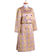Vintage 1960s Purple and Gold Metallic Dress and Jacket Ensemble