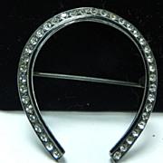 SALE Vintage 1940s Sterling Silver Horseshoe Brooch with Rhinestones