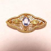 SALE Antique 18k gold filigree pin with aquamarine stone
