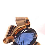 SALE Vintage 1940s Coro Gorgeous blue and gold Dress or Fur clip