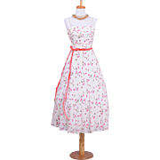 Vintage 1970s Windsor Cotton White and Pink Rosebud Printed Spaghetti Strap Dress