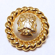 SALE Signature Fendi faux pearl and gold tone chain Bacchus brooch