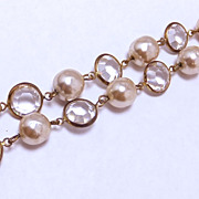 SALE Miriam Haskell faux baroque pearl and bezel set crystal bracelet