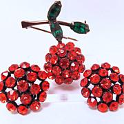 SALE Vintage Weiss rhinestone Cherry brooch & earrings with japanned metal
